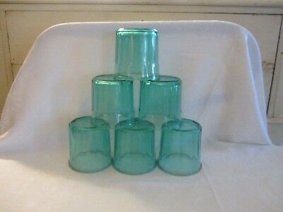 VTG 6 Luminarc Arcoroc Aqua Blue Teal Green 10 Panel  Glasses France 500 12oz