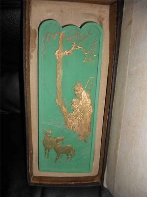 Vintage Chinese Calligraphy Ink Stone Stick Green Goat Herder Goats