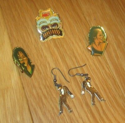 Michael Jackson 3 PINS Dangerous World Tour PEPSI earrings