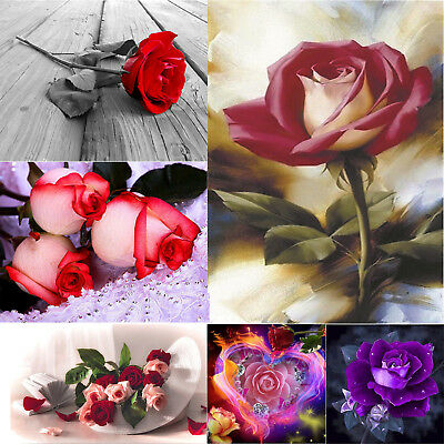 5D DIY Full Drill Square Diamond Painting Rose Cross Stitch Kit Valentines Gifts