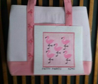 **patty Paints Designs**flamingo Canvas Pocket/with  Tote Bag**hp Needlepoint**