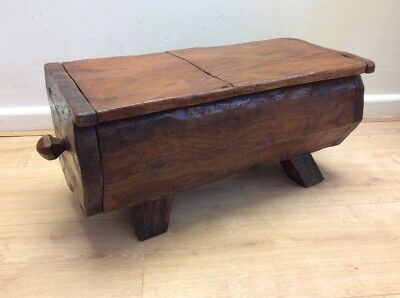 Oak Trunk Carved Stool Fireside Cottage With Storage