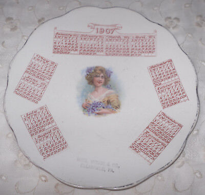 1907 Antique Victorian Girl w/Violets CALENDAR PLATE Ross Woods&Co Clearfield PA