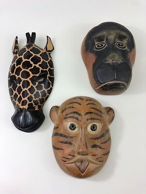 Sumatran Tiger Mask Wall Decor Endangered Species Art Hand Carved in Indonesia