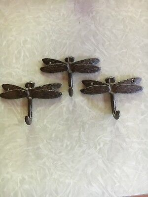 3 Cast Iron DRAGONFLY Towel Hanger Coat  Hat Hooks, Key Rack GARDEN Hook BUG