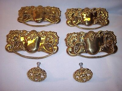 Vintage Lot Stamped Brass Victorian Dresser Drawer Pulls Handles Knobs Nice!