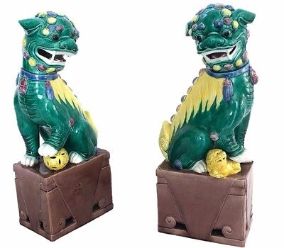 Pair of Authentic Antique Porcelain Hand-painted Foo Dogs, Chinese, Circa 1900