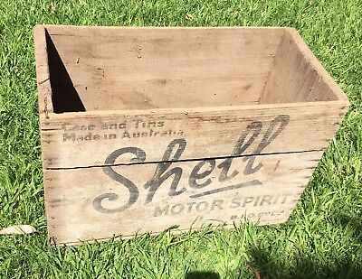 Antique Australian Shell Motor Spirits Oil Grease Case & Tins Wooden Crate Box
