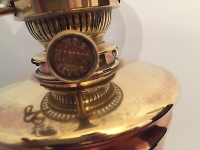 Antique Copper On Brass Oil Lamp With  Double Burner Wick