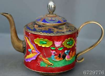 Chinese Collectable Handwork Red Cloisonne Carve Duck Lotus Flower Decor Tea Pot
