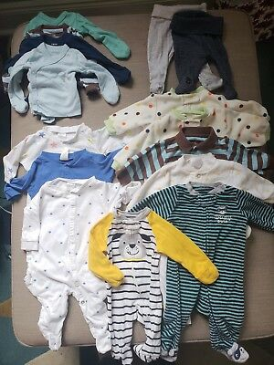 Baby Boy Clothes Lot NB 0-3 H&M Carters Pajamas PJ Side snap shirts footed pants