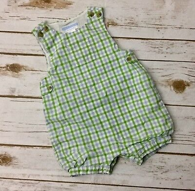 Janie and Jack One Piece Layette Boy Size 3-6 Months Mister Frog Spring Gingham
