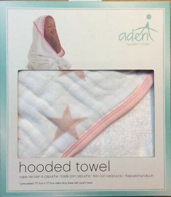 Brand New!! Aden By Aden & Anais Hooded Towel - Pink Stars