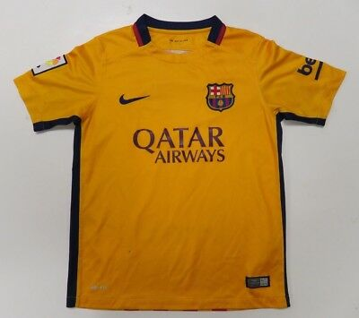 744a67648eb Nike Authentic 2015 FC Barcelona Soccer Jersey Youth Medium Yellow Qatar  Dri Fit