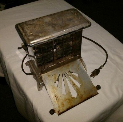 Vintage Antique Electrahot Two Drop Side Chrome Electric Toaster Style No. 38
