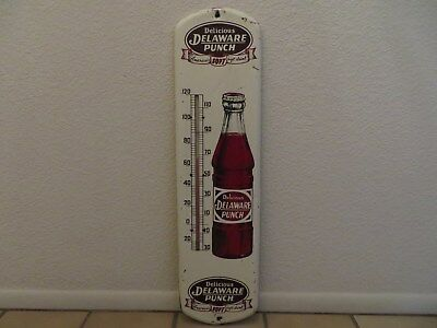 DELAWARE PUNCH Soda Pop Soft Drink Advertising Thermometer Metal Sign
