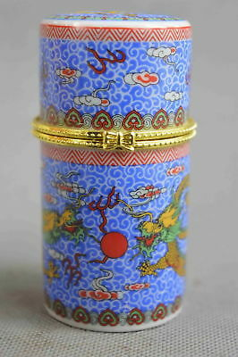 China Collectable Handwork Decorate Porcelain Paint Dragon Lucky Toothpick Box