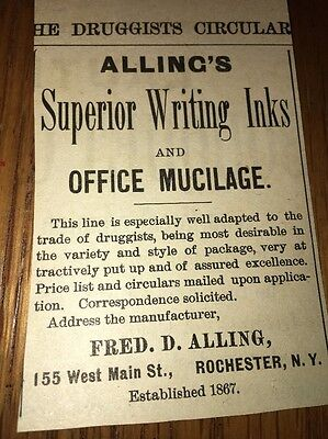 Alling's Writing Inks Office Mucilage 1892 Ad Rochester New York