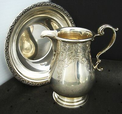 BOWL & PITCHER INTERNATIONAL PRELUDE & BIRKS SYRUP STERLING SILVER COMBO 353g!