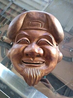 DAIKOKU Mask Japanese Vtg Hand Carved Wood Mask God of Crops & Wealth