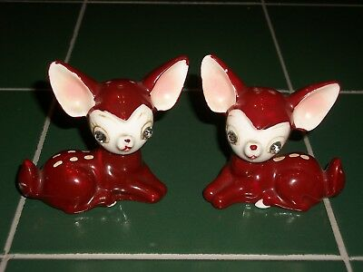 1950's Japan Glossy Porcelain Deer Fawn w/ Rhinestone Eyes Salt & Pepper Shakers