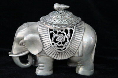 Chinese Collectable Decot Miao Silver Hand Carve Flower Elephant Incense Burners