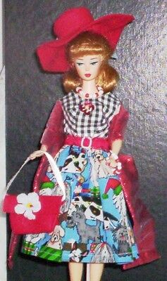 Dress Handmade for Vintage Silkstone Barbie Clothes Hat Purse jewelry Stole Belt
