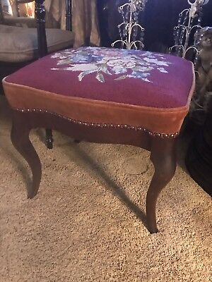 Vintage needlepoint footstool roses wooden