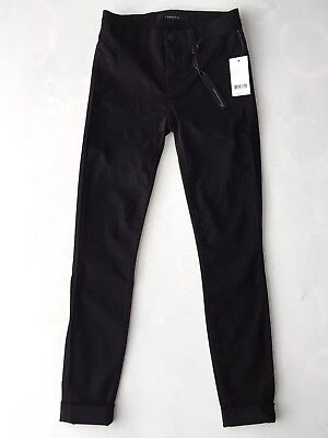 J Brand Anja Mid-Rise Cuffed Cropped Skinny Luxe Sateen Black Women's Jeans 23