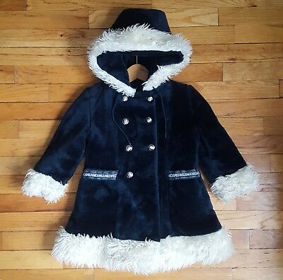 Vintage Girl's Royal Blue Coat With Faux Fur Trim And Hood Size 5