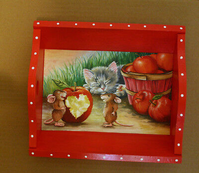 HANDPAINTED wood VALENTINE tray candy CAT MOUSE HEART apple love affection food