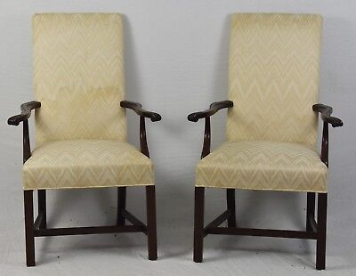 Pair HICKORY CHAIR CO. Mahogany Chippendale Style Arm Chairs Flamestich Fabric