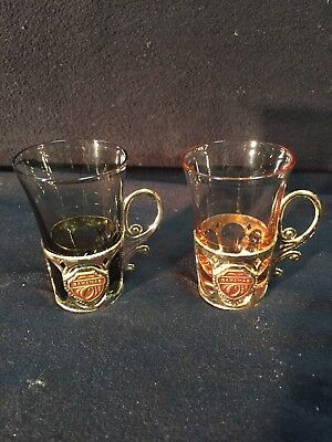 Vintage Shot Glasses Osaka Glass Wares 2 Colored W/Holders Souvenir Bahamas