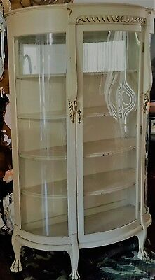 Antique Bow Front Oak China Cabinet