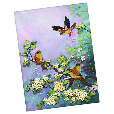 Ribbon Embroidery Kits DIY Bird Painting Kit Stamped Cross Stitch Gifts