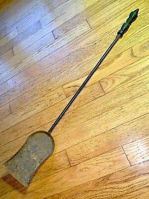 "VINTAGE Cast Iron Metal Small Black SHOVEL Coal Fireplace TOOL 28"" long"