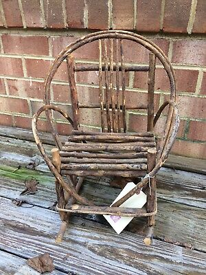 Twig rocker, vintage, doll sized, bentwood rocking chair, shabby, primitive