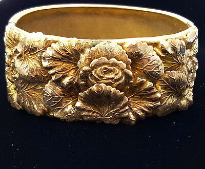 Victorian late 19th century Etched gold plated brass bangle bracelet, large .