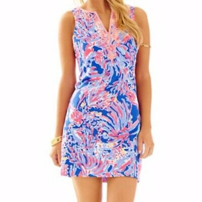 55ab25187fdd NWT Lilly Pulitzer Lyssa Shift Dress in Iris Blue Shrimply Chic Size 10  Coral