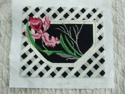 Needlepoint Of Orchid In A Trellis Cartouche
