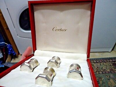 Vintage Cartier Sterling Silver Salt & Pepper Shakers Set of 4 Orig Box unused