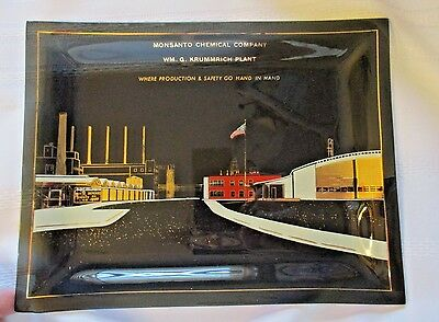 1960 Monsanto Chemical Co. Krummrich Plant~Glass Tray/picture Of Plant~Sauget Il