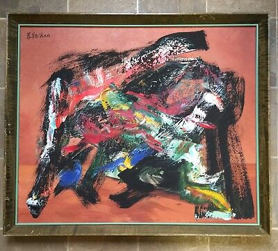 Vintage Double-Sided Abstract Oil Painting Signed