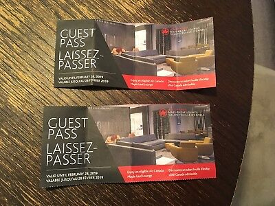 Air Canada Maple Leaf lounge passes (2)