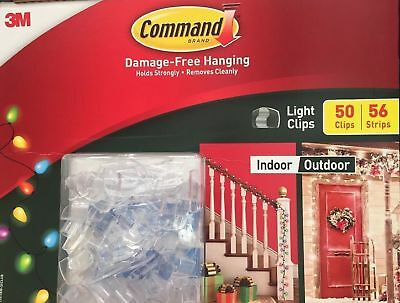 NEW 3M Command Damage-free Indoor Outdoor Light Clips Package 50 Clips/65 Strips