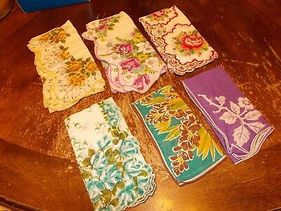 lot of 6 vintage floral appliqued handkerchiefs hankies two 15 inch square EUC