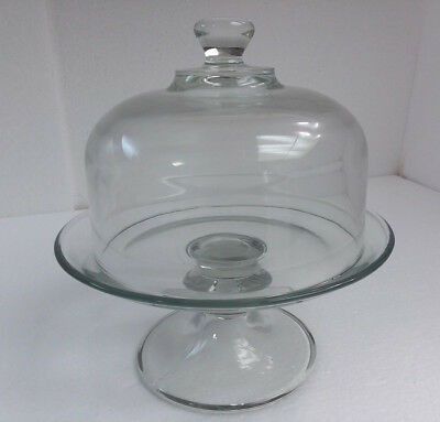 Vintage Mini Glass Cake Dome Lid Pie Stand Retro Minature Mid Century Modern