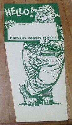 Vintage Smokey the Bear HELLO ! - Prevent Forest Fires :  Green Cardboard Sign