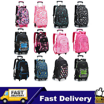 Children School Bags Removable Trolley Backpack Student Climb Stair 6 Wheels