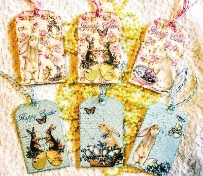 Set of 6 Hang Tags~Vintage Easter~Gift Tags~Scrapbook~Cards~Embellishments~#200T